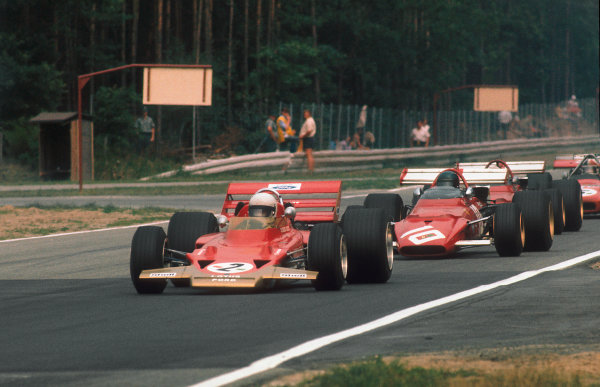 Hockenheim, Germany.31/7-2/8 1970.Jochen Rindt (Lotus 72C Ford) 1st position leads Jacky Ickx, Clay Regazzoni (both Ferrari 312B's) and Chris Amon  (March 701 Ford).Ref-70 GER 02.World Copyright - LAT Photographic