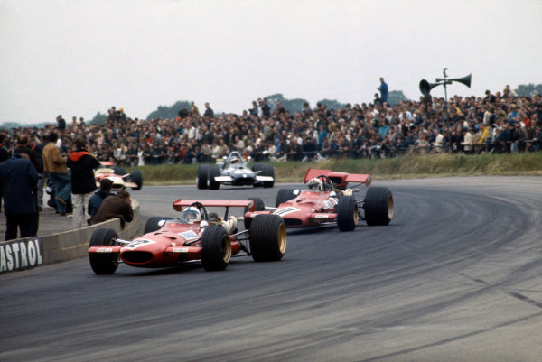 Silverstone, Great Britain. 19th July 1969.Pedro Rodriguez (Ferrari 312), retired, leads Chris Amon (Ferrari 312), retired, action. World Copyright: LAT Photographic.Ref: 69 GB 40.