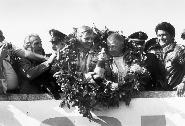 Little Madonie Circuit, Sicily, Italy. 13th May 1973.Herbert Muller/Gijs van Lennep (Porsche Carrera RSR), 1st position, podium, portrait.World Copyright: LAT Photographic.Ref: 5335 - 11A.