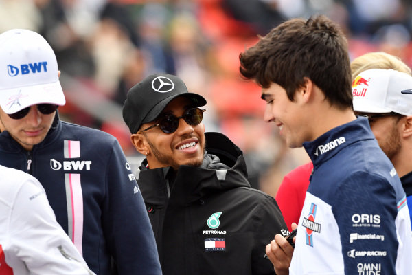 Lewis Hamilton (GBR) Mercedes-AMG F1 and Lance Stroll (CDN) Williams on the drivers parade