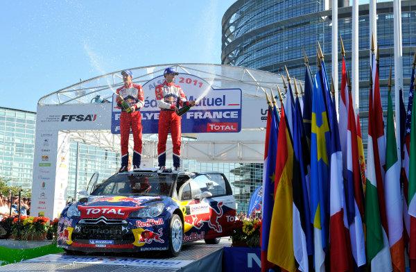Round 11-Rallye de France. 29/9-02/10 2011.Sebastien Ogier, Julien Ingrassia, Citroen WRC, Podium.Worldwide Copyright: McKlein/LAT