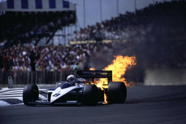 Andrea de Cesaris, Brabham BT56 BMW, suffering an engine fire.