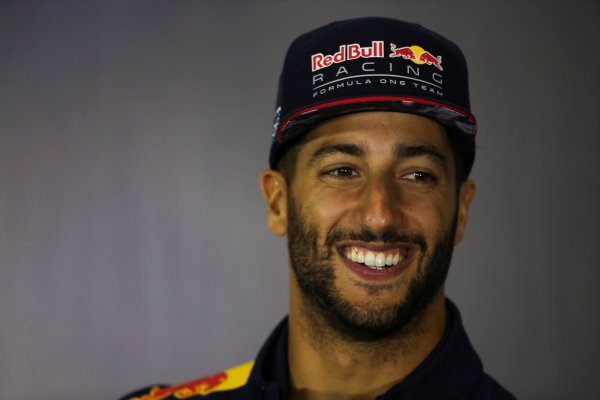 Silverstone, Northamptonshire, UK.  Thursday 13 July 2017. Daniel Ricciardo, Red Bull Racing, in the Thursday press conference. World Copyright: Charles Coates/LAT Images  ref: Digital Image DJ5R0735