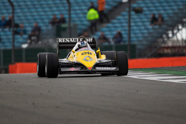 Silverstone, Northamptonshire, UK.  Saturday 15 July 2017. A 1983 Alain Prost raced Renault RE40 is driven in a parade celebrating 40 years since the Renault team first entered a Formula 1 Grand Prix. World Copyright: Dom Romney/LAT Images  ref: Digital Image GT2R3269