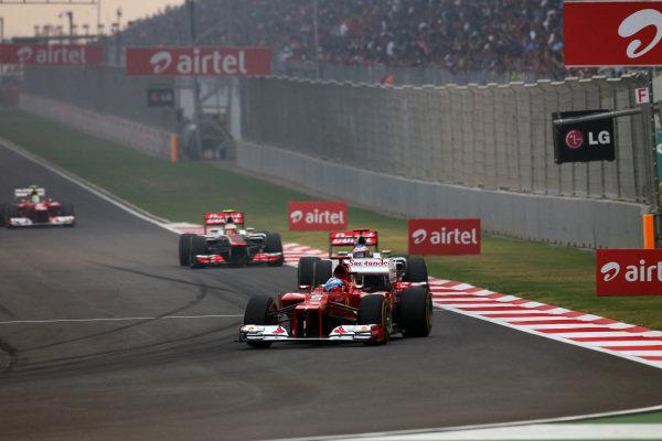 Fernando Alonso (ESP) Ferrari F2012. Formula One World Championship, Rd17, Indian Grand Prix, Buddh International Circuit, Greater Noida, New Delhi, India, Race, Sunday 28 October 2012.