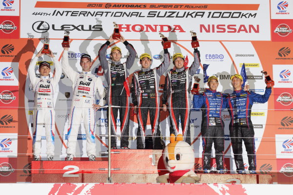 2015 Japanese Super GT Series.  Suzuka, Japan. 30th August 2015. Rd 5. GT300 Winner Andre Couto, Katsumasa Chiyo & Ryuichiro Tomita ( #10 GAINER TANAX GT-R) 2nd position Jorg Muller & Seiji Ara ( #7 Studie BMW Z4 ) 3rd position Takuto Iguchi & Hideki Yamauchi ( #61 SUBARU BRZ R&D SPORT ) podium portrait World Copyright: Yasushi Ishihara/LAT Photographic. ref: Digital Image 2015SGT_Rd5_018