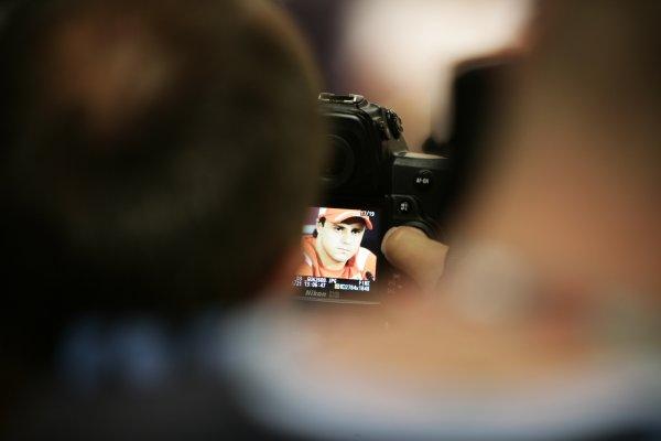 2008 Monaco Grand Prix - WednesdayMonte Carlo, Monaco.21st May 2008.A snapper takes a shot of Felipe Massa, Ferrari F2008, in a Press Conference. Press Conferences. Portrait. World Copyright: Charles Coates/LAT Photographic.ref: Digital Image _K5Y9031