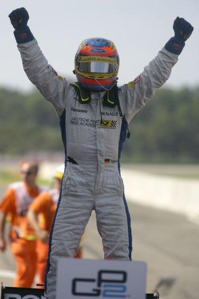 2007 GP2 Series. Round 11.Valencia, Spain. 30th September.Sunday Race. Timo Glock (GER, iSport International) celebrates winning the 2007 GP2 Series title.World Copyright: Alastair Staley/GP2 Series Media Service.ref: Digital Image ZP9O0452