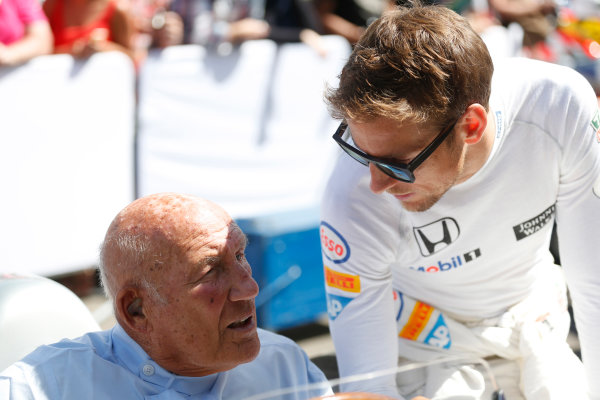 2015 Goodwood Festival of Speed Goodwood Estate, West Sussex, England. 25th - 28th June 2015. Stirling Moss and Jenson Button. World Copyright: Alastair Staley/LAT Photographic ref: Digital Image_R6T9143