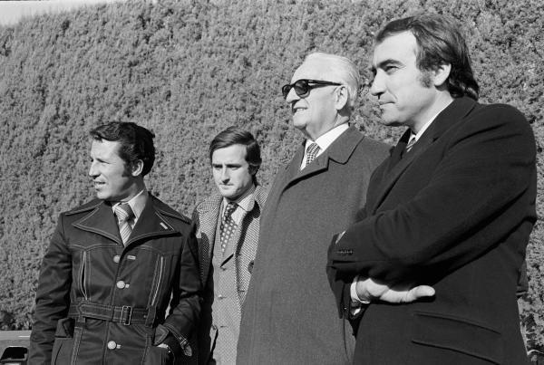 Ferrari drivers for 1971 with Enzo Ferrari, 2nd right,  L to R: Mario Andretti(USA), Ignazio Giunti(ITA) and, Clay Regazzoni(SUI) Modena, Italy, December 1970