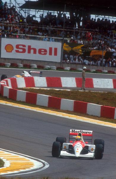 1991 Brazilian Grand Prix.Interlagos, Sao Paulo, Brazil.22-24 March 1991.Ayrton Senna (McLaren MP4/6 Honda) 1st position.Ref-91 BRA 05.World Copyright - LAT Photographic