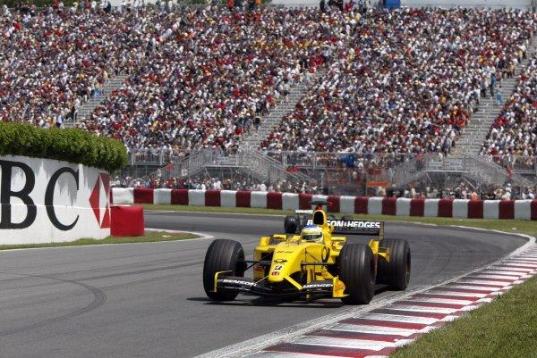 2002 Canadian Grand Prix - RaceMontreal, Canada. 9th June 2002Giancarlo Fisichella (Jordan EJ12-Honda).World Copyright: Steve Etherington/LATref: Digital Image Only