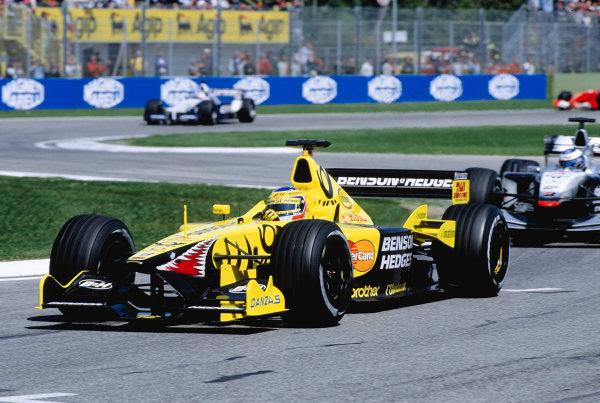 2001 San Marino Grand Prix.Imola, Italy. 13-15 April 2001.Jarno Trulli (Jordan EJ11 Honda) 5th position.Ref-01 SM 29.World Copyright - Lorenzo Bellanca/LAT Photographic