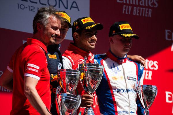 Jehan Daruvala (IND, PREMA Racing) Juri Vips (EST, Hitech Grand Prix) and Niko Kari (FIN, Trident)