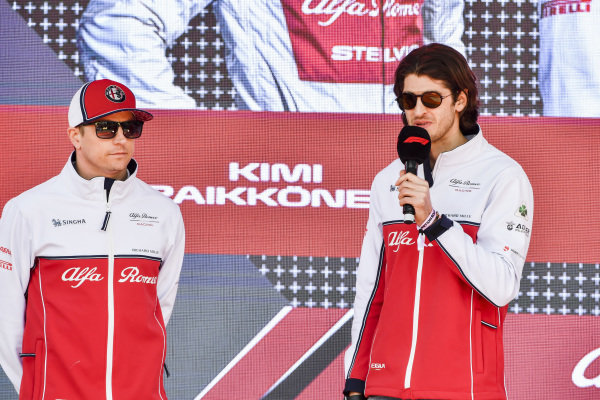 Kimi Raikkonen, Alfa Romeo Racing and Antonio Giovinazzi, Alfa Romeo Racing at the Federation Square event.