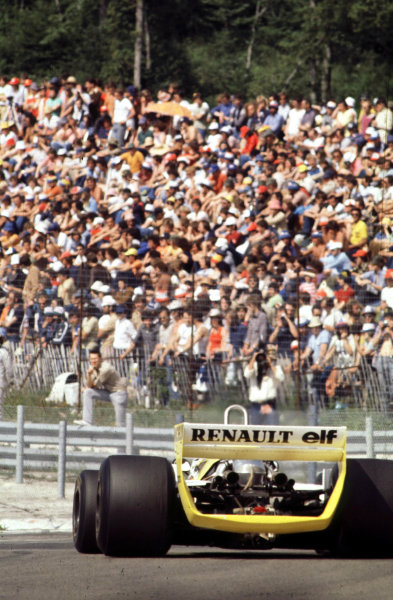 1979 French Grand Prix  Dijon, France. 29/6-1/7 1979. Jean-Pierre Jabouille takes his and Renault's first win in the 1.5 turbocharged Renault RS10 V6. Ref: 79FRA14.  World Copyright - LAT Photographic