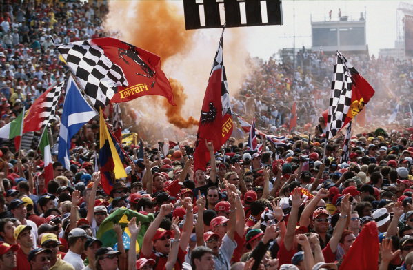 Ferrari fans and flags.