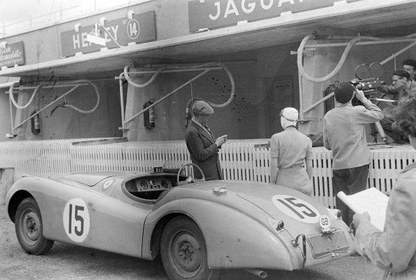 Peter C. Clark / Nick Haines' Jaguar XK-120S, in the pits.