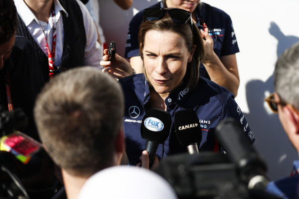 Claire Williams, Deputy Team Principal, Williams Racing, talks to the press