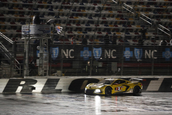 #3 Corvette Racing Corvette C8.R, GTLM: Antonio Garcia, Jordan Taylor, checkered flag, win