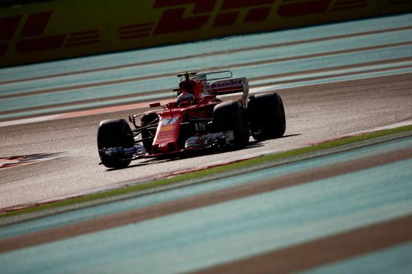 Yas Marina Circuit, Abu Dhabi, United Arab Emirates. Saturday 25 November 2017. Kimi Raikkonen, Ferrari SF70H.  World Copyright: Andy Hone/LAT Images  ref: Digital Image _ONZ0194