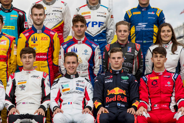 2017 GP3 Series Round 1.  Circuit de Catalunya, Barcelona, Spain. Thursday 11 May 2017. George Russell (GBR, ART Grand Prix), Anthoine Hubert (FRA, ART Grand Prix), Niko Kari (FIN, Arden International), Leonardo Pulcini (ITA, Arden International), Ryan Tveter (USA, Trident), Dorian Boccolacci (FRA, Trident), Santino Ferrucci (USA, DAMS), Tatiana Calderon (COL, DAMS). Photo: Zak Mauger/GP3 Series Media Service. ref: Digital Image _54I6924