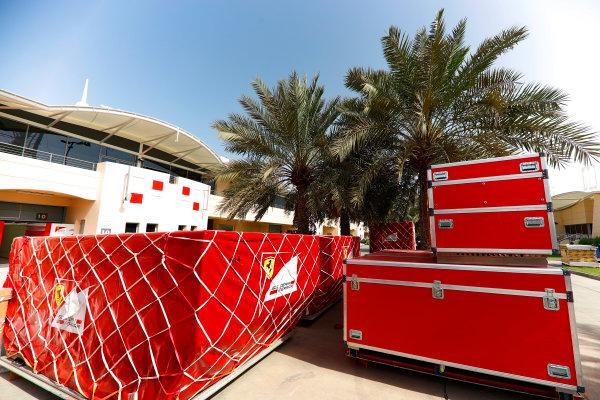 Bahrain International Circuit, Sakhir, Bahrain.  Tuesday 18 April 2017. Ferrari frieght in the paddock. World Copyright: Glenn Dunbar/LAT Images ref: Digital Image _X4I1862