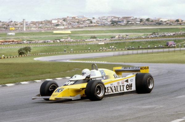 Interlagos, Sao Paulo, Brazil. 25-27 January 1980. Rene Arnoux, Renault RE20, 1st position. World Copyright: LAT Photographic. Ref: 80BRA16