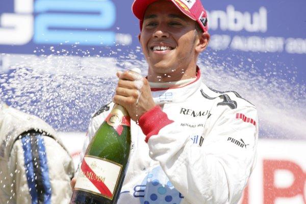 2006 GP2 Series. Round 10.Istanbul Park, Istanbul Turkey.27th August 2006.Sunday Race.Lewis Hamilton (GBR, ART Grand Prix) celebrates his second position. World Copyright: Lorenzo Bellanca/GP2 Series Media Service.ref: Digital Image ZD2J8643
