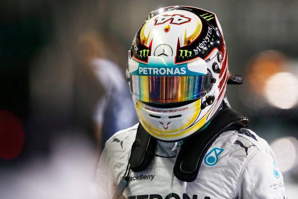 Yas Marina Circuit, Abu Dhabi, United Arab Emirates. Saturday 22 November 2014. Lewis Hamilton, Mercedes AMG, arrives in Parc Ferme after Qualifying. World Copyright: Steven Tee/LAT Photographic. ref: Digital Image _X0W0077