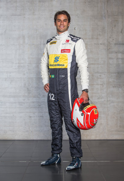 Sauber C34 Reveal. Hinwil, Switzerland. Thursday 29 January 2015. Felipe Nasr. Photo: Sauber F1 Team (Copyright Free FOR EDITORIAL USE ONLY) ref: Digital Image 20150130_Felipe_Nasr_Front_w_Helmet