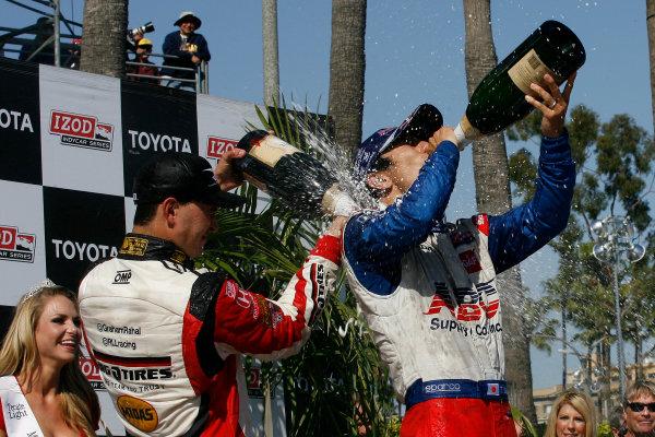 19-21 April 2013, Long Beach, California USA Justin Wilson, Takuma Sato, Graham Rahal with champagne.(c)2013, Todd Davis LAT Photo USA