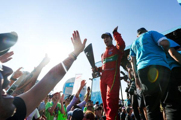 2016/2017 FIA Formula E Championship. Round 12 - Montreal ePrix, Canada Sunday 30 July 2017. Lucas Di Grassi (BRA), ABT Schaeffler Audi Sport, Spark-Abt Sportsline, ABT Schaeffler FE02, celebrates on the podium. Photo: Malcolm Griffiths/LAT/Formula E ref: Digital Image MALC7671