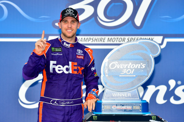 Monster Energy NASCAR Cup Series Overton?s 301 New Hampshire Motor Speedway, Loudon, NH USA Sunday 16 July 2017 Denny Hamlin, Joe Gibbs Racing, FedEx Office Toyota Camry victory lane World Copyright: Nigel Kinrade LAT Images