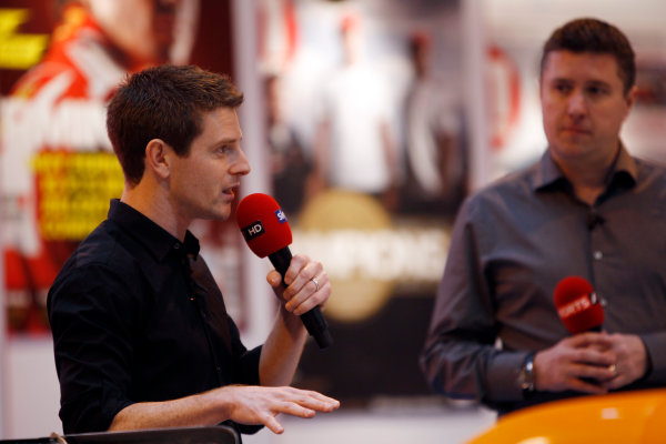 Autosport International Show NEC, Birmingham.  Saturday 12th January 2013. Anthony Davidson and David Croft on the F1 Racing display. World Copyright:Glenn Dunbar/LAT Photographic ref: Digital Image _G7C6308