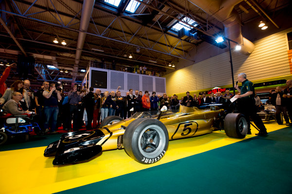 Autosport International Exhibition.  National Exhibition Centre, Birmingham, UK. Thursday 14 January 2016.  Classic Team Lotus unveil the Lotus Type 56 B. World Copyright: Sam Bloxham/LAT Photographic. ref: Digital Image _SBL6144