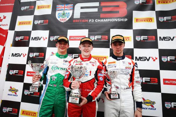 Race Podium (l-r) Kiern Jewiss (GBR) Douglas Motorsport BRDC F3, Johnathan Hoggard (GBR) Fortec Motorsports BRDC F3, Clement Novalak (GBR) Carlin BRDC F3