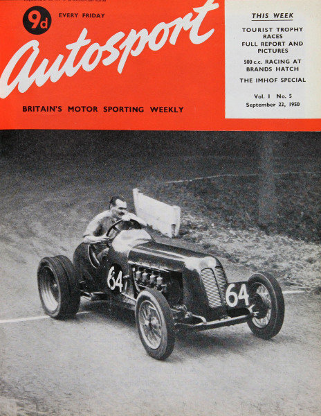 Cover of Autosport magazine, 22nd September 1950. Main Picture: Ken Rawlings at Shelsley Walsh in his Triangle Skinner Special.