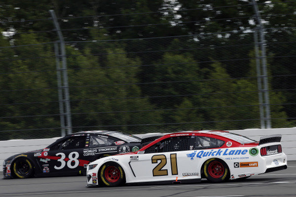 #38: John H. Nemechek, Front Row Motorsports, Ford Mustang Death Wish Coffee and #21: Matt DiBenedetto, Wood Brothers Racing, Ford Mustang Motorcraft/Quick Lane