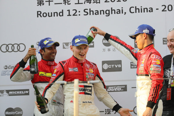 Aditya Patel (IND) Team Audi R8 LMS Cup 2nd Position, Martin Rump (EST) Champion Racing Team race winner & Thong Wei Fung (HK) Phoenix Racing Asia 3rd Position celebrate on the Podium at Audi R8 LMS Cup, Rd11 and Rd12, Shanghai International Circuit, Shanghai, China, 4-5 November 2016.