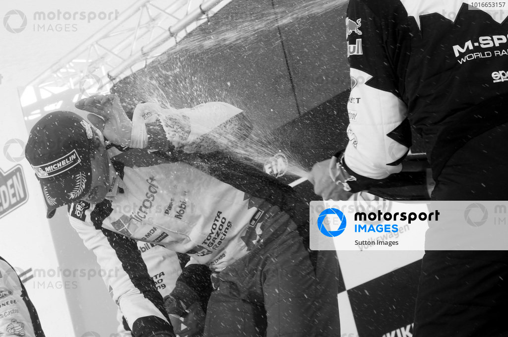 Jari-Matti Latvala (FIN), Toyota Gazoo Racing WRC celebrates on the podium with the champagne at World Rally Championship, Rd2, Rally Sweden, Day Three, Karlstad, Sweden, 12 February 2017.