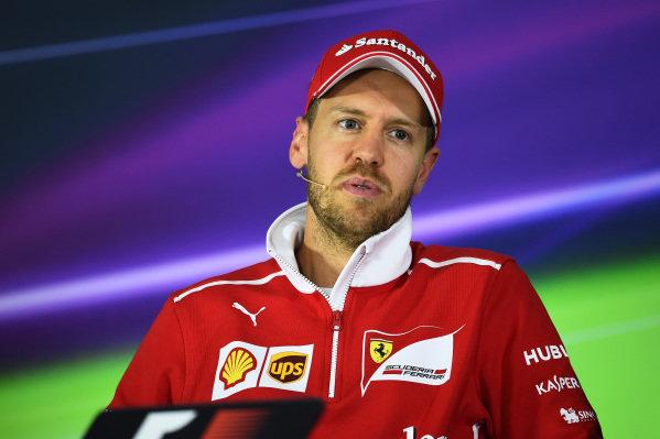 Sebastian Vettel (GER) Ferrari in the Press Conference in the Press Conference at Formula One World Championship, Rd2, Chinese Grand Prix, Preparations, Shanghai, China, Thursday 6 April 2017.