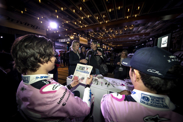 Sergio Perez, SportPesa Racing Point F1 Team and Lance Stroll, SportPesa Racing Point F1 Team sign autographs for the fans during the SportPesa Racing Point F1 Team Launch in Toronto
