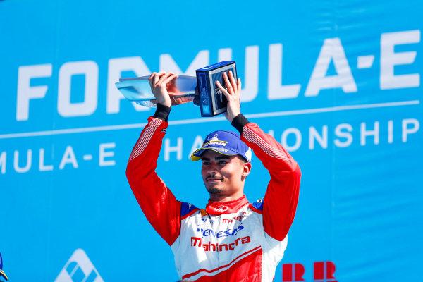 Pascal Wehrlein (DEU), Mahindra Racing, celebrates 2nd position on the podium