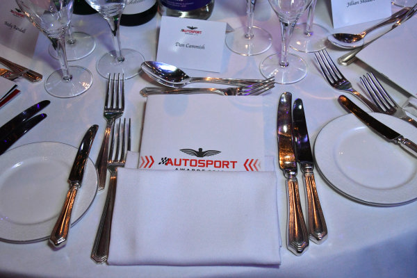 Table place set for Dan Cammish prior to the guests arrival