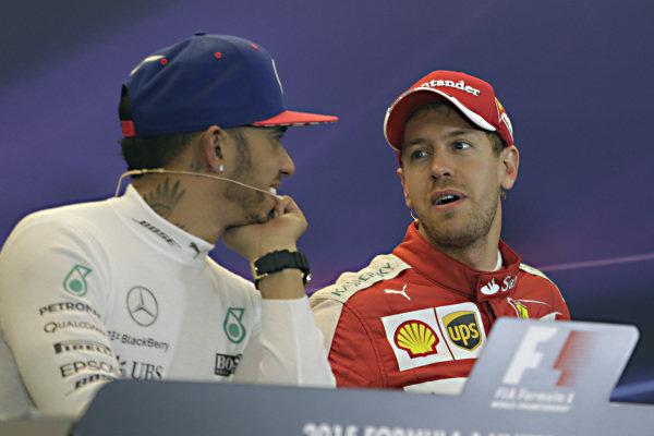 Lewis Hamilton (GBR) Mercedes AMG F1 and Sebastian Vettel (GER) Ferrari in the Press Conference at Formula One World Championship, Rd16, United States  Grand Prix, Race, Austin, Texas, USA, Sunday 25 September 2015.