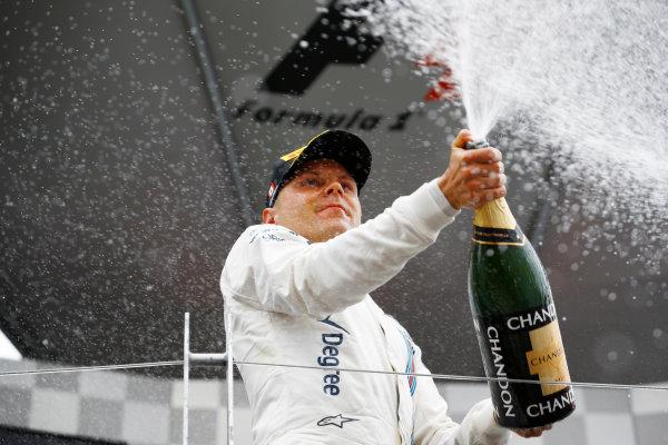 Circuit Gilles Villeneuve, Montreal, Canada. Sunday 12 June 2016. Valtteri Bottas, Williams Martini Racing, 3rd Position, sprays the Champagne. World Copyright: Steven Tee/LAT Photographic ref: Digital Image _H7I6006