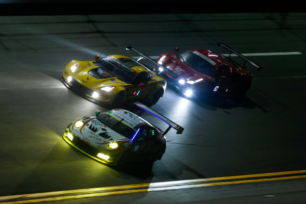IMSA WeatherTech SportsCar Championship Rolex 24 Hours Daytona Beach, Florida, USA Sunday 28 January 2018 #59 Manthey Racing Porsche 911 GT3 R, GTD: Steve Smith, Harald Proczyk, Sven Muller, Matteo Cairoli, Randy Walls #3 Corvette Racing Chevrolet Corvette C7.R, GTLM: Antonio Garcia, Jan Magnussen, Mike Rockenfeller World Copyright: Jake Galstad LAT Images  ref: Digital Image galstad-DIS-ROLEX-0118-306617