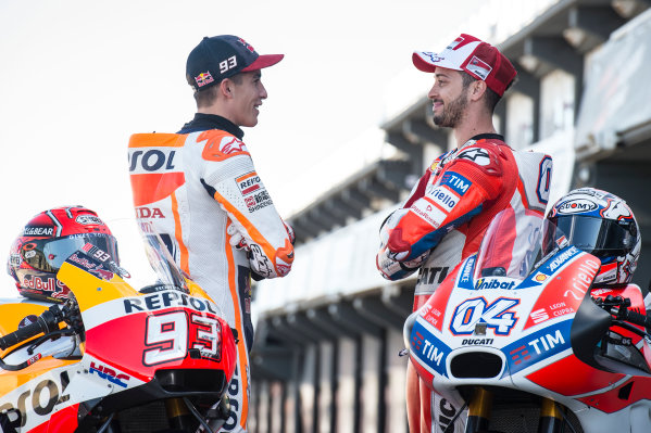 2017 MotoGP Championship - Round 18 Valencia, Spain  Thursday 9 November 2017 Marc Marquez, Repsol Honda Team, Andrea Dovizioso, Ducati Team  World Copyright: Alexander Trienitz/LAT Images ref: Digital Image 704391