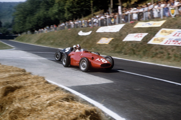 Rouen-Les-Essarts, France. 5-7 July 1957. Carlos Menditeguy (Maserati 250F) retired, leads Mike MacDowel (Cooper T43 Climax) 7th position. Ref-57 FRA 22. World Copyright - LAT Photographic